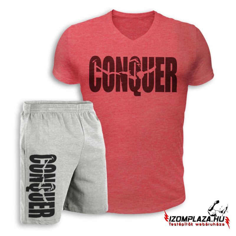 f6288d2839 Conquer V-nyakú póló+ rövidnadrág (piros-szürke szett)