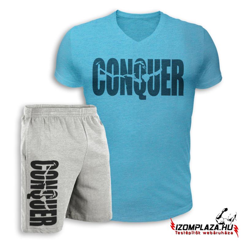 bf84442187 Conquer V-nyakú póló+ rövidnadrág (kék-szürke szett)