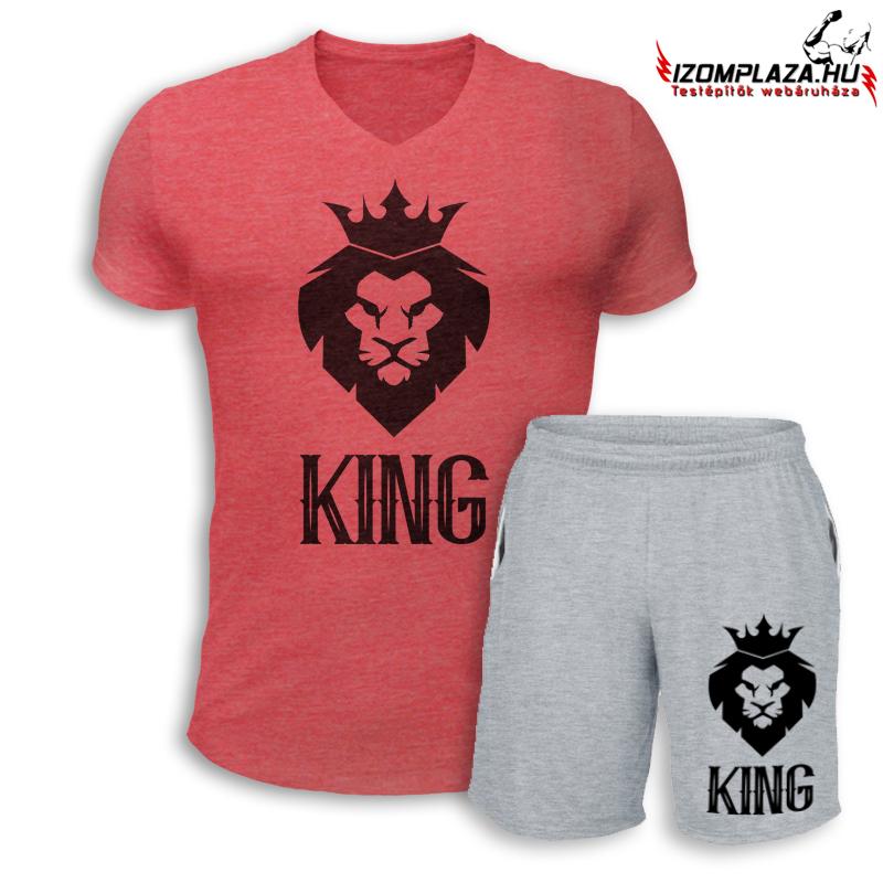 cf096d69e3 King V-nyakú póló+ rövidnadrág (piros-szürke szett)