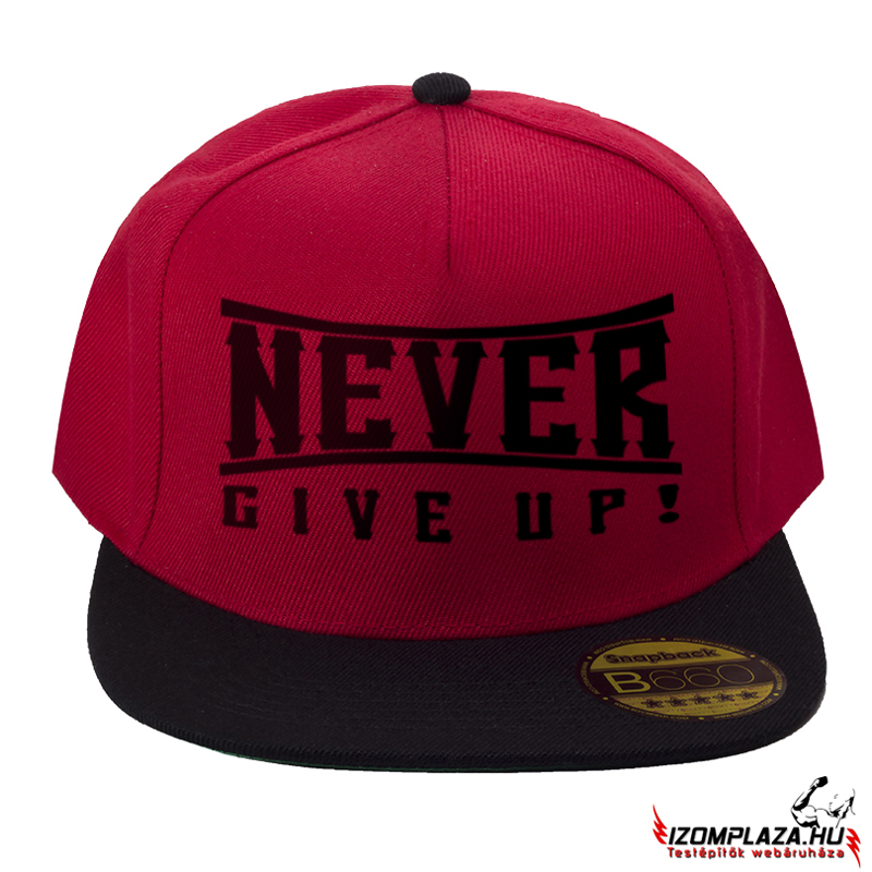 Never Give Up snapback (piros-fekete)
