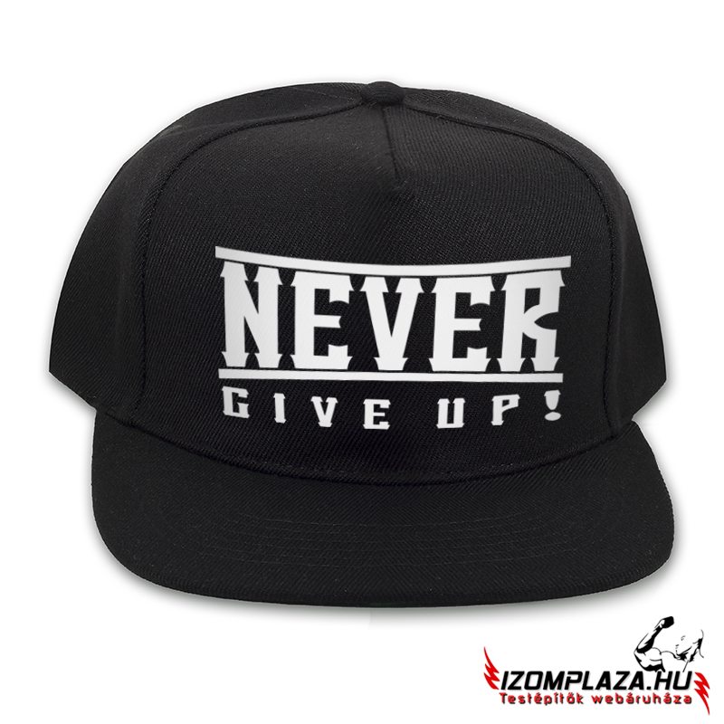 Never give up! snapback (fekete)