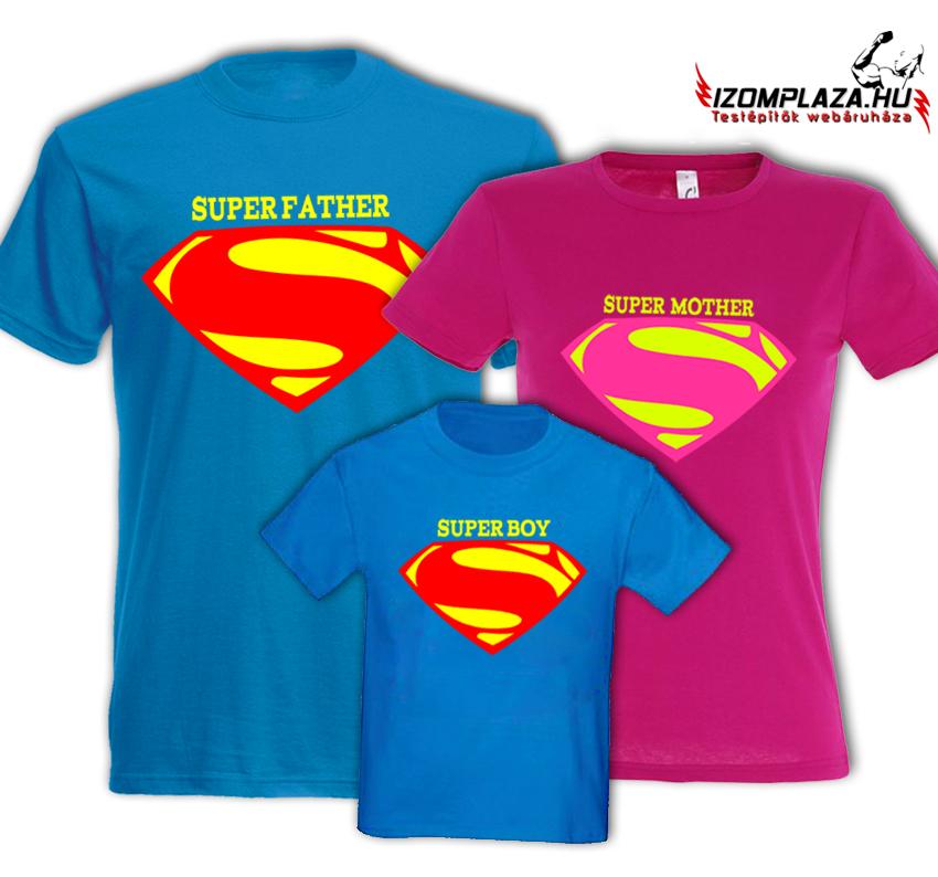 99a2472e11 Super Father+ Super Mother+ Super Boy (férfi+gyerek kék póló, női pink póló)