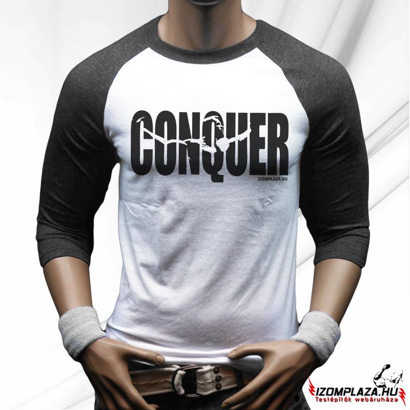 f7d3594c35 Férfi ruházat | Conquer háromnegyedes póló (szürke-fehér ...