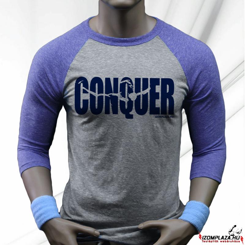 629d911b91 Férfi ruházat | Conquer háromnegyedes póló (szürke-kék) | Izomplaza ...