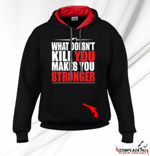 What doesn't kill you makes you stronger pulóver (fekete-piros)