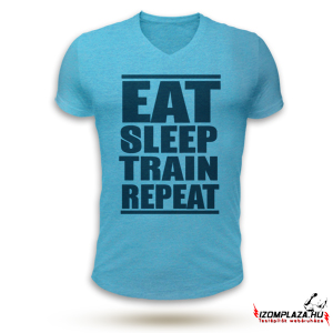 Eat, sleep, train, repeat V-nyakú póló (kék)