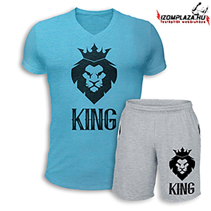 9d859a2ab3 King V-nyakú póló+ rövidnadrág (kék-szürke szett) empty