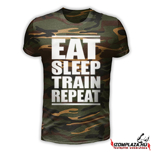 Eat sleep train repeat - terepmintás póló