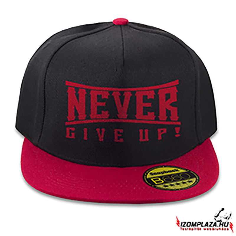 Never give up snapback (fekete-piros)