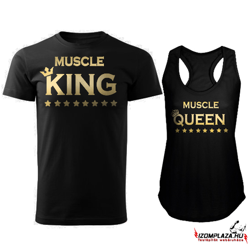 Muscle King póló + Muscle Queen trikó (fekete)