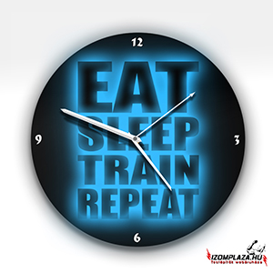 Eat, sleep, train, repeat üveg falióra