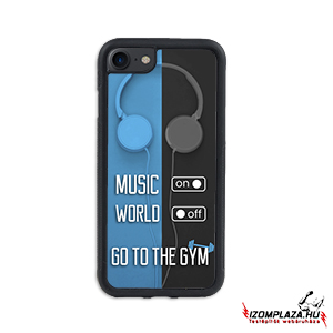 Music on, world off, go to the gym - iPhone telefontok (kék-szürke)