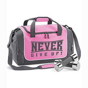 Never give up! edzőtáska (pink-grafit)